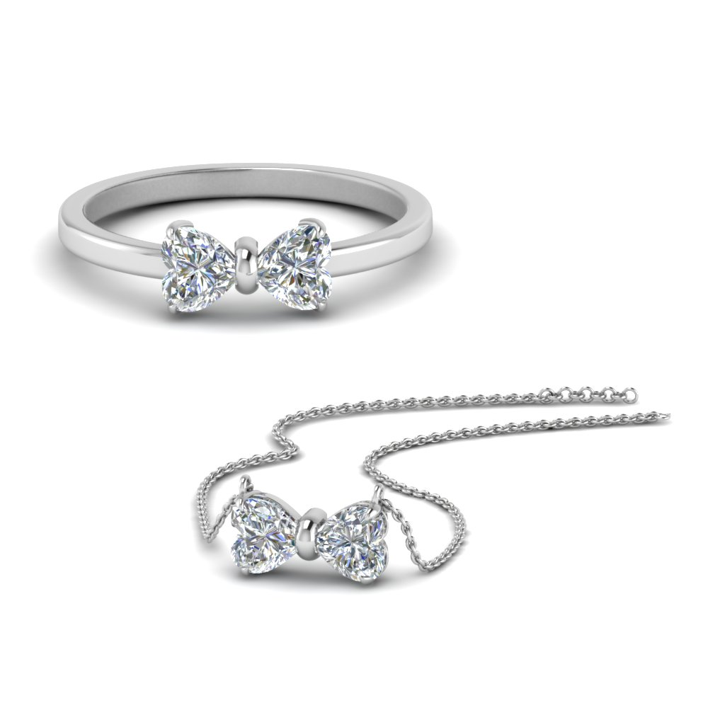 Bow Diamond Ring With Matching Pendant Set