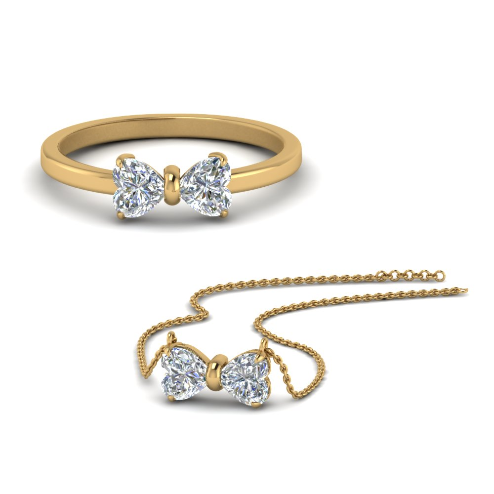 heart diamond ring with matching pendant sale in 14K yellow gold FD8527 NL YG