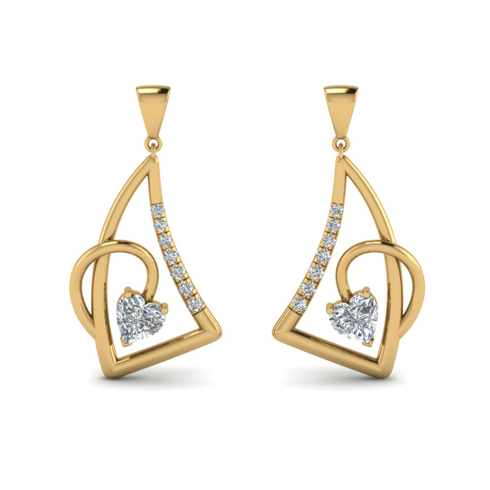 heart diamond stud drop earring in 14K yellow gold FDEAR8849 NL YG