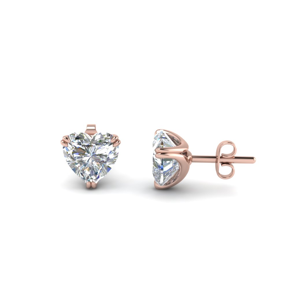 Heart Shaped Diamond Stud Earrings