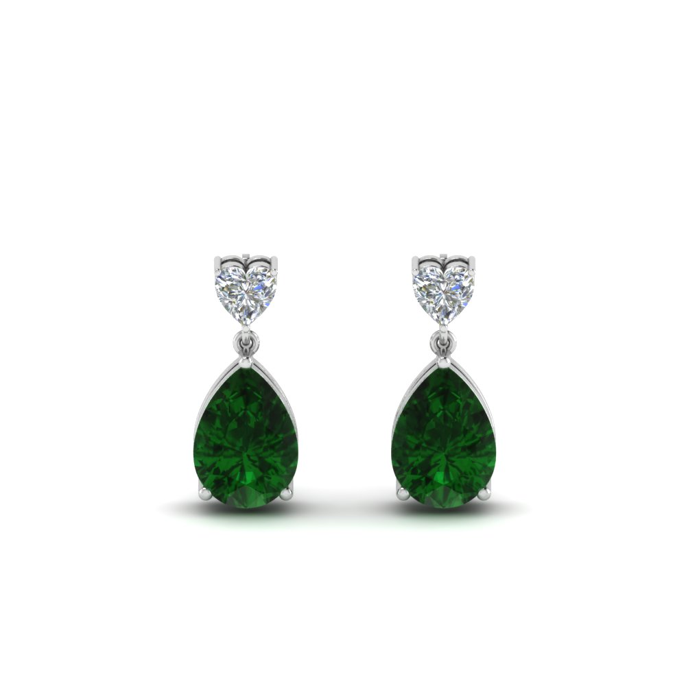 Heart Diamond Stud Teardrop Emerald Earring In Fdear8989gemgrangle1
