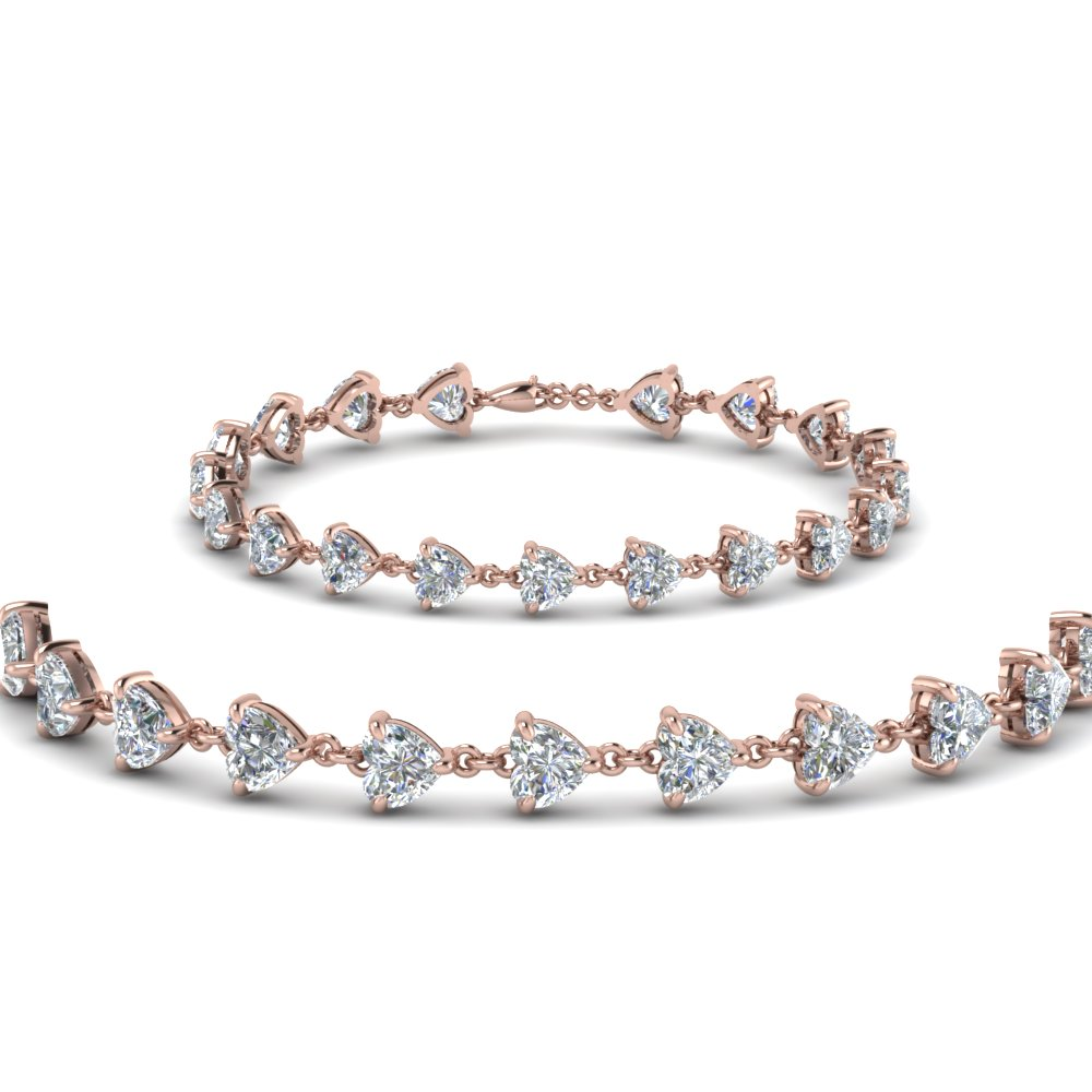 heart diamond tennis bracelet in FDBRC8442ANGLE1 NL RG