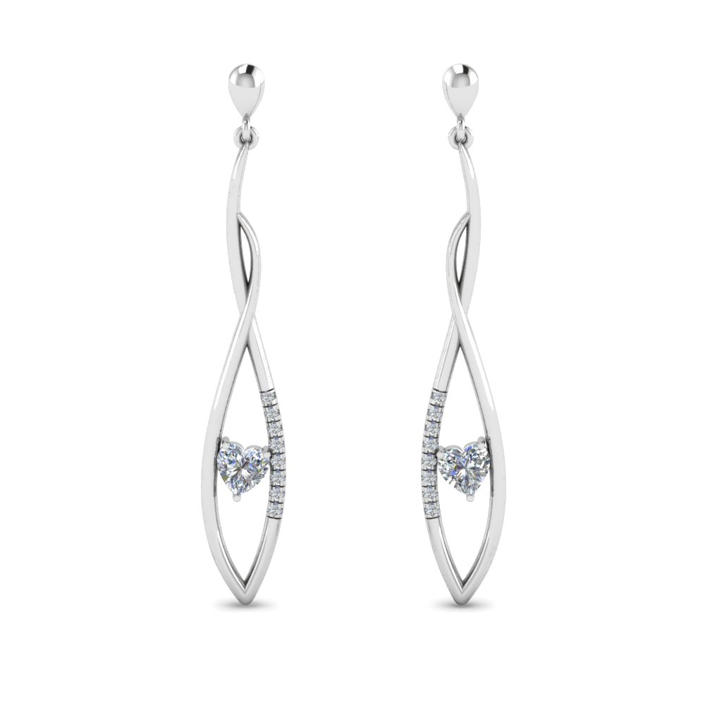 Heart Diamond Twist Earring For Women