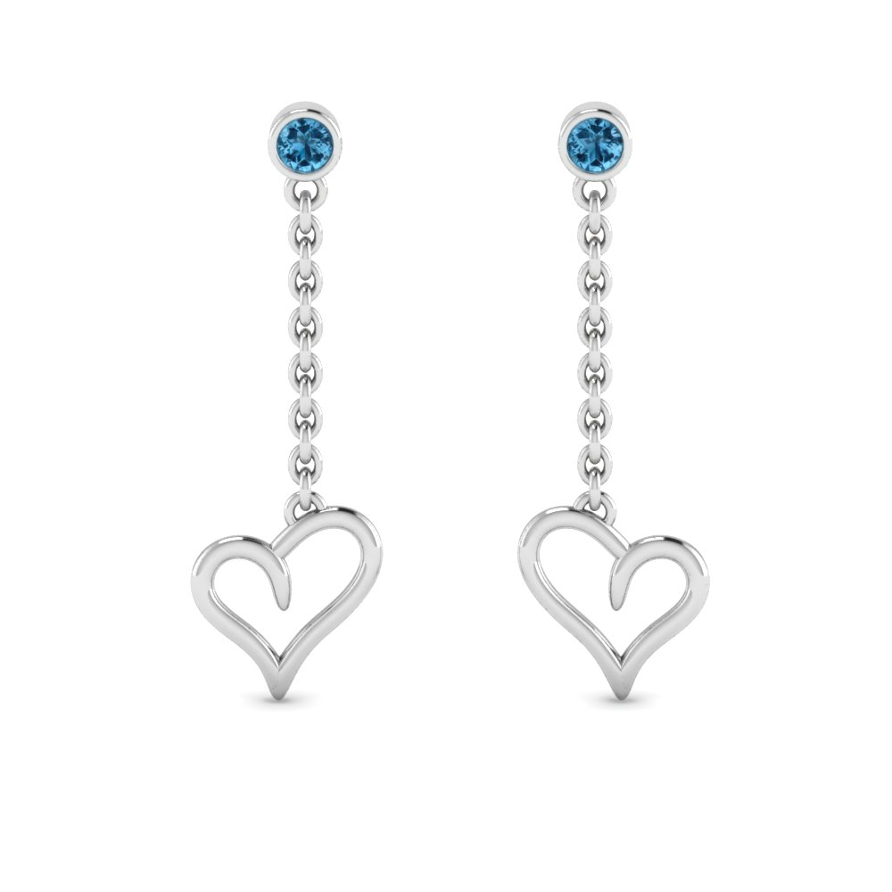 Blue Topaz Heart Drop Earring