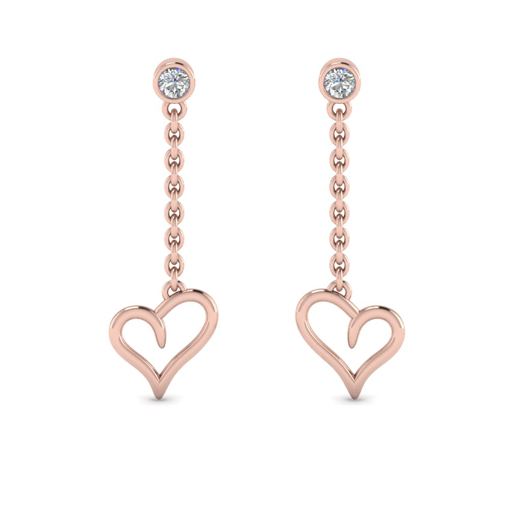 heart drop design diamond earring in 14K rose gold FDEAR8820 NL RG