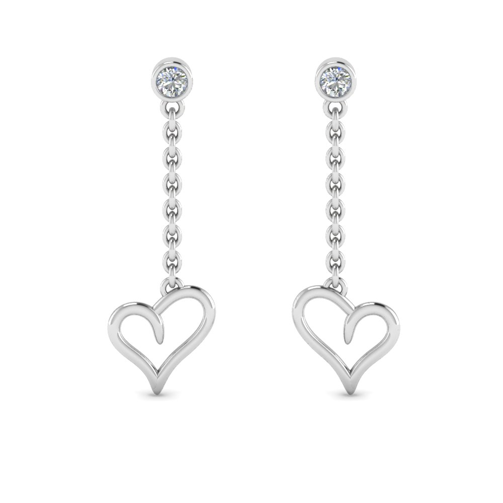 Heart Design Diamond Drop Earring