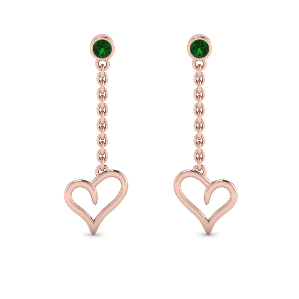 heart drop design emerald earring in 14K rose gold FDEAR8820GEMGR NL RG