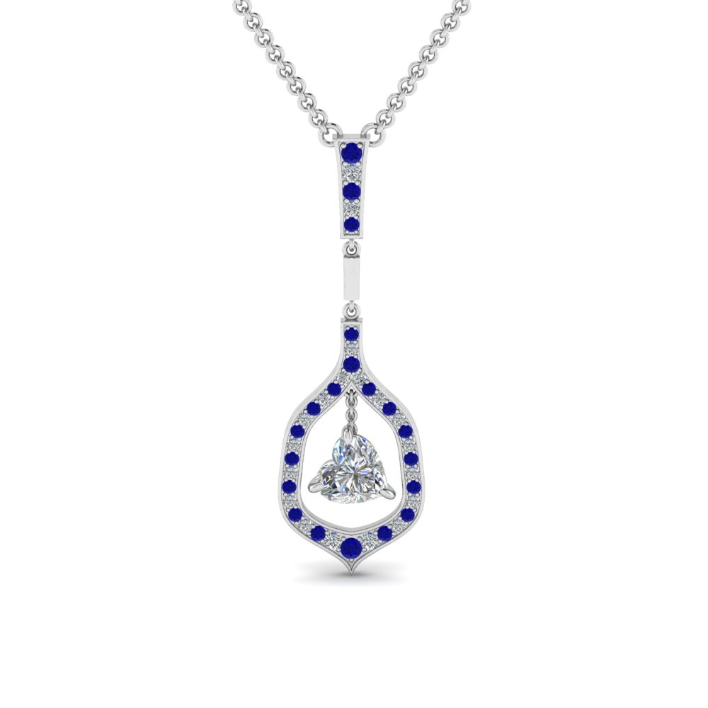 heart drop diamond pendant with sapphire in FDPD8489HTGSABL NL WG