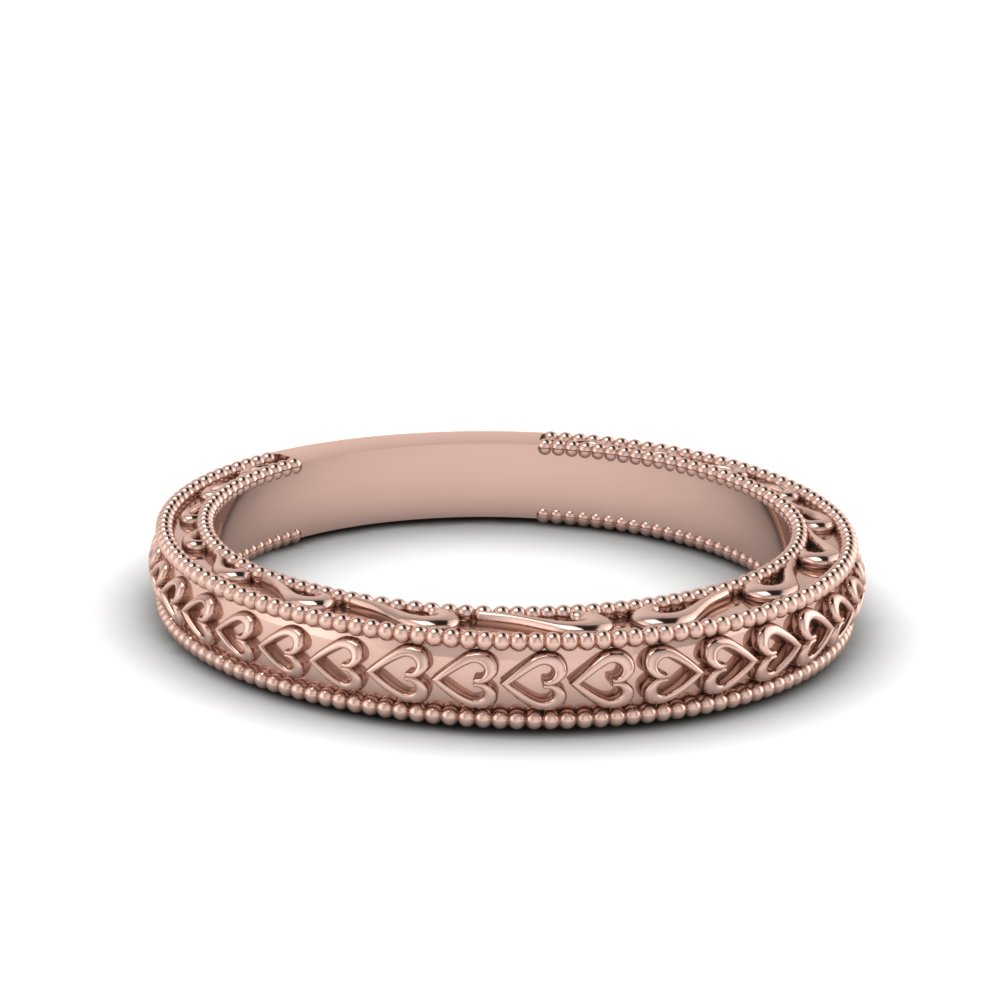 heart filigree milgrain womens band in 14K rose gold FDENS3612B NL RG