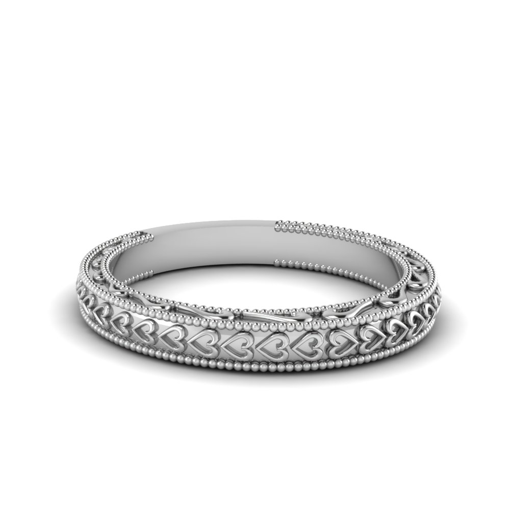 Heart Filigree Milgrain Band