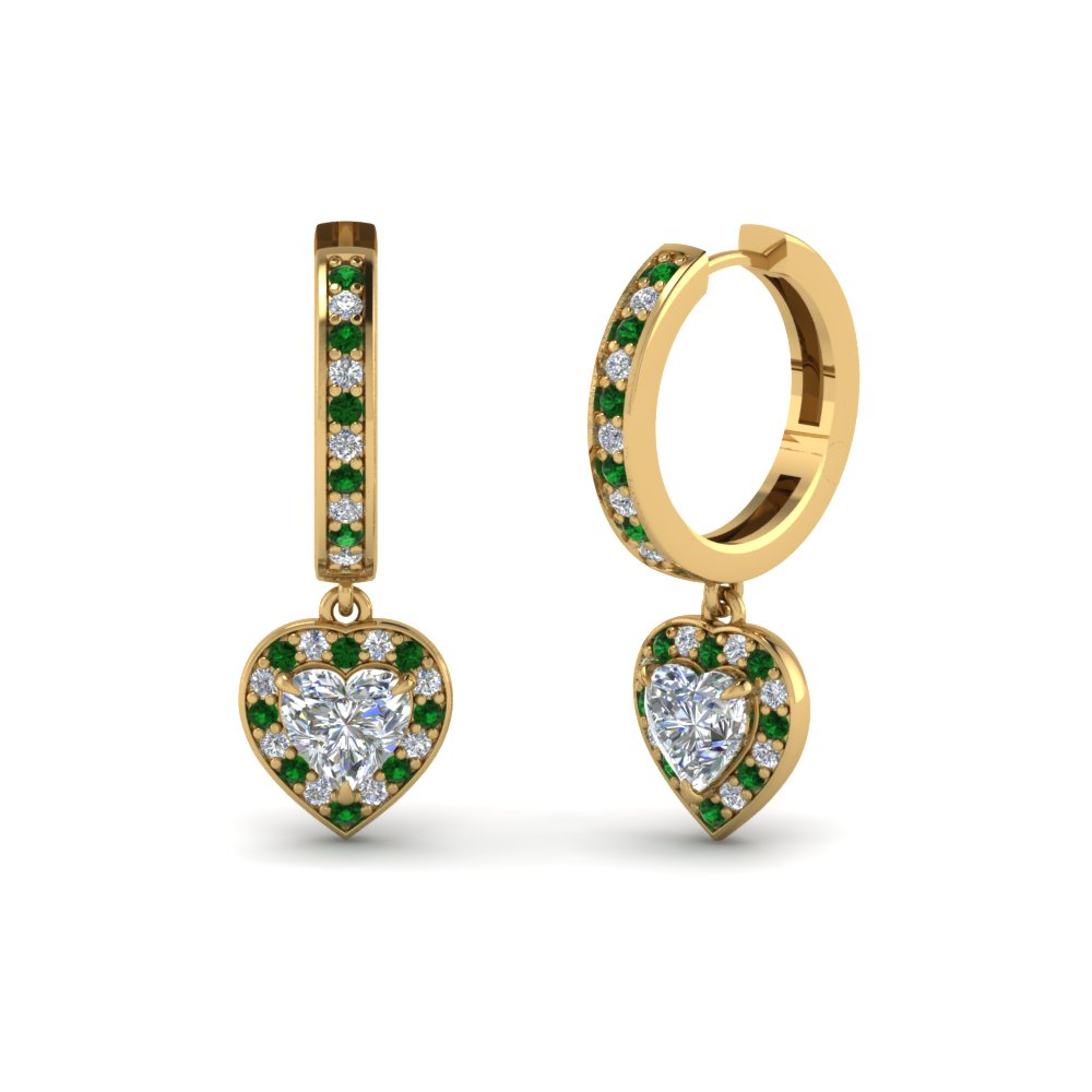 heart halo diamond drop earring with emerald in FDEAR1185HTGEMGR NL YG