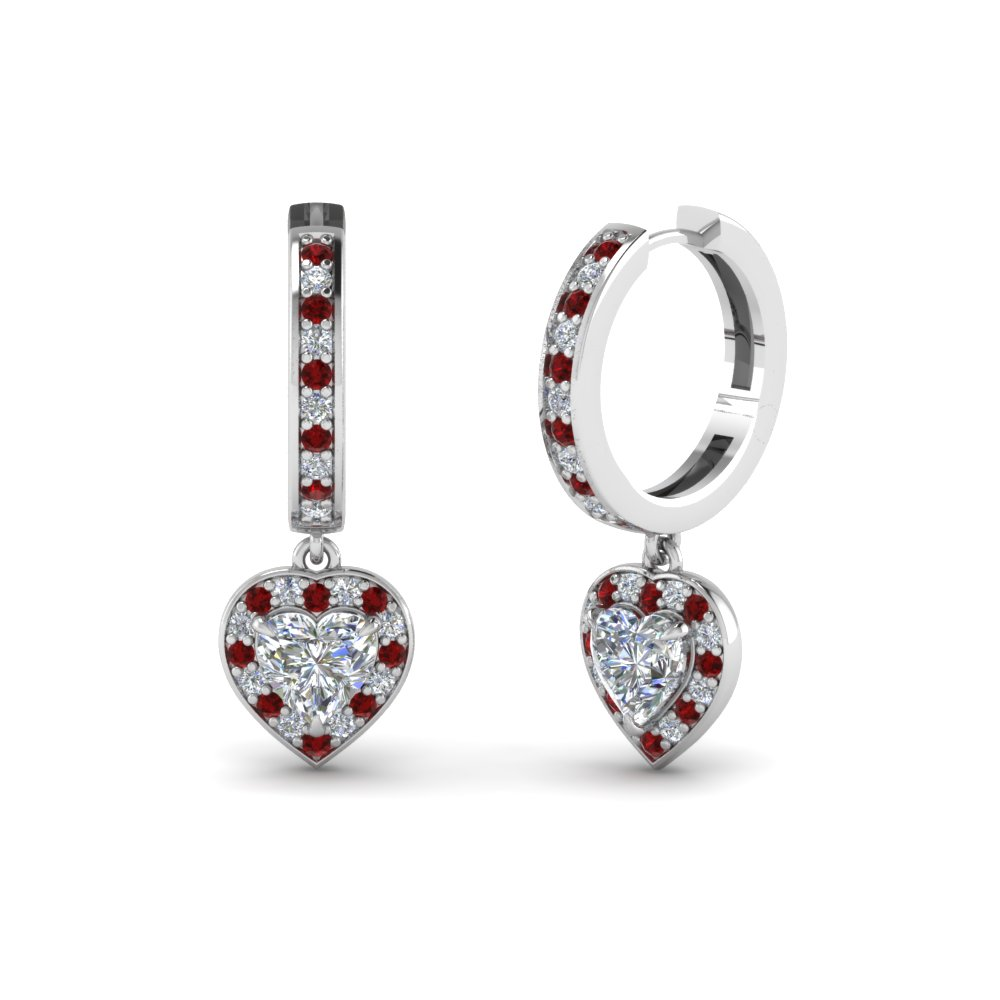 heart halo diamond drop earring with ruby in FDEAR1185HTGRUDR NL WG