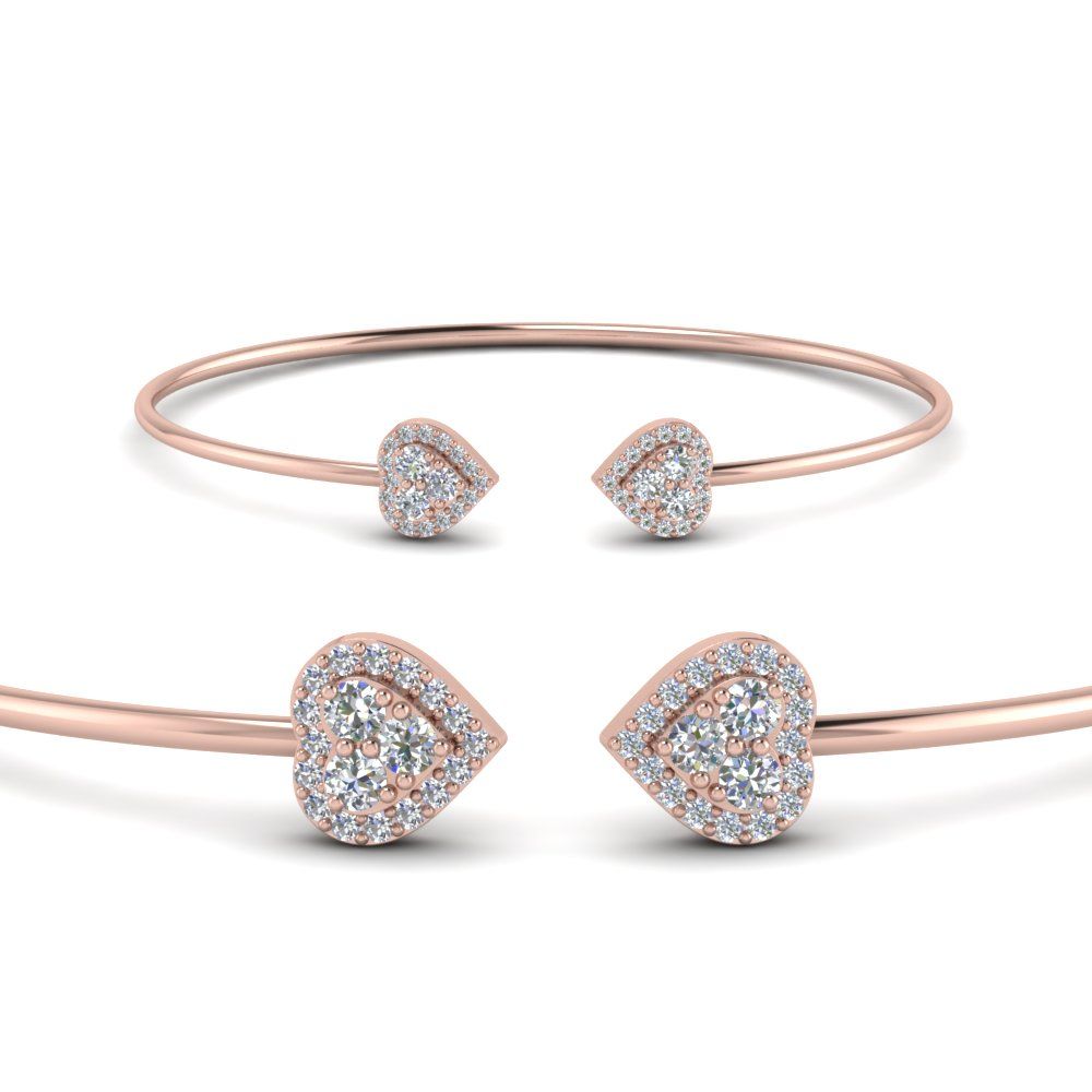 heart halo diamond open cuff bracelet in 14k rose gold