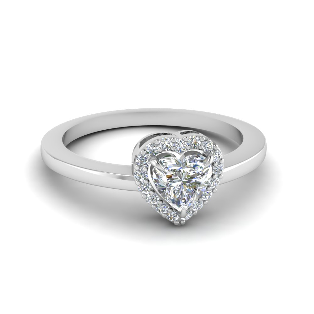 White Gold Heart Halo Promise Ring For Her
