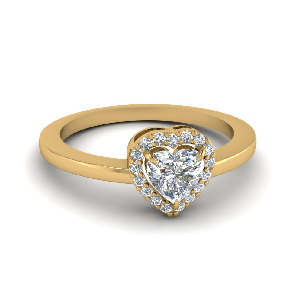 Heart Halo Diamond Promise Engagement Ring In 14K Yellow Gold