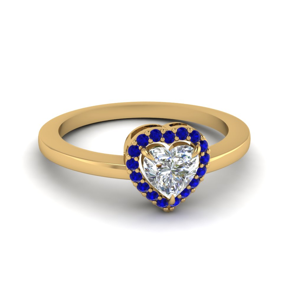 Halo Heart Promise Ring With Sapphire