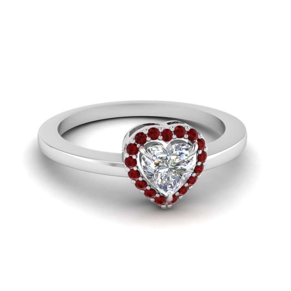 Halo Promise Ring With Ruby Gemstone