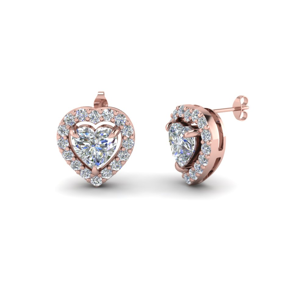 heart halo diamond stud gold earring in 14K rose gold FDEAR1186HT NL RG