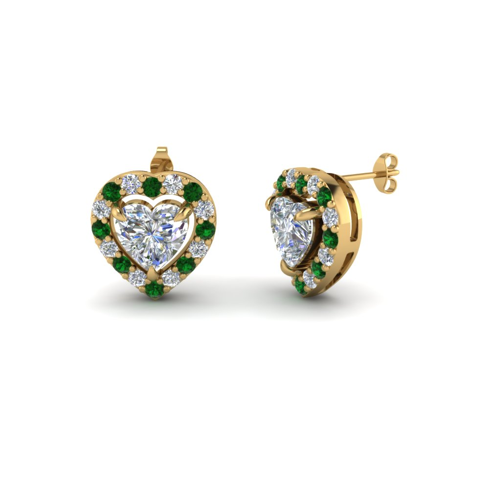 Heart Halo Emerald Stud Earring