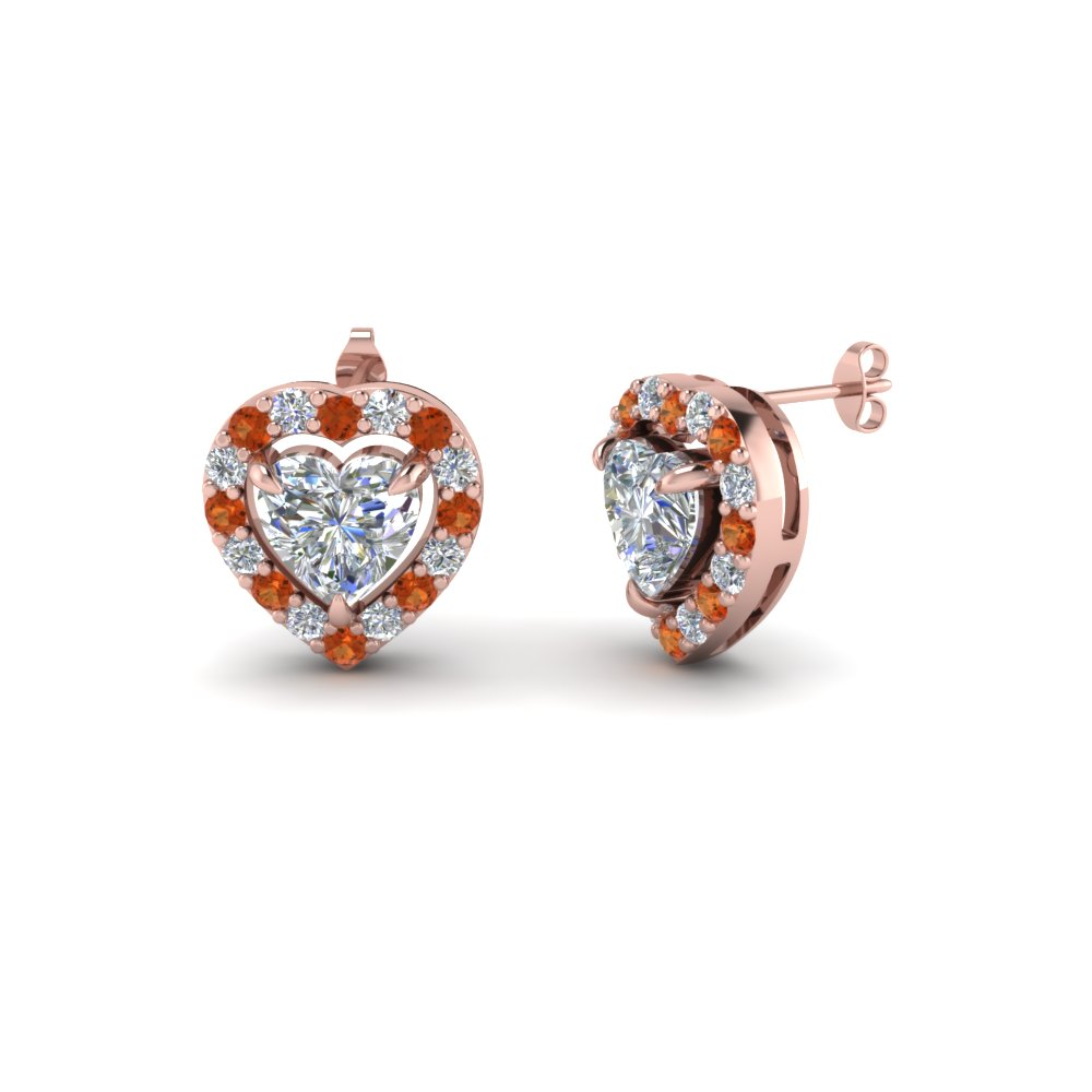 heart halo diamond stud earring with orange sapphire in 18K rose gold FDEAR1186HTGSAOR NL RG