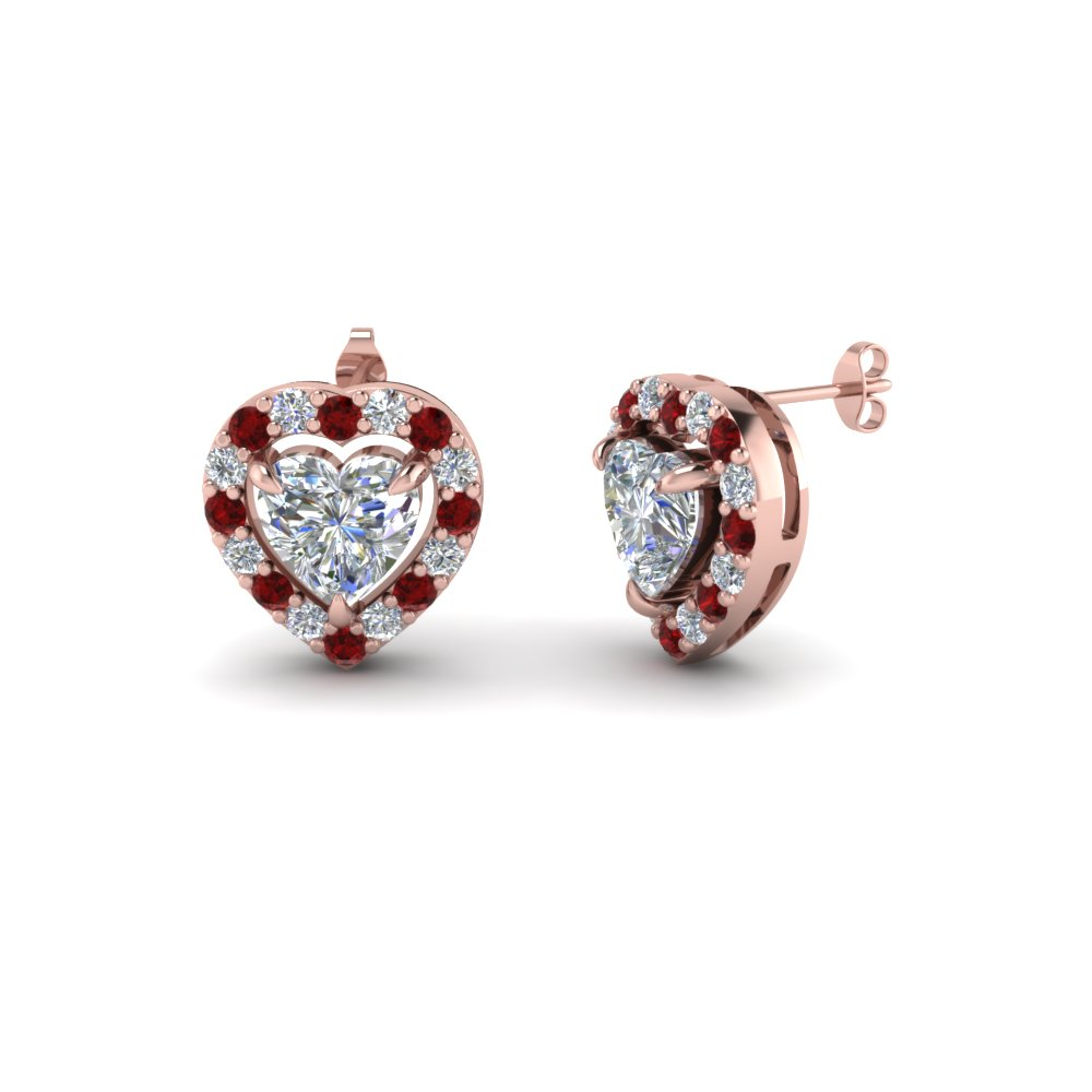 heart halo diamond stud earring with ruby in 14K rose gold FDEAR1186HTGRUDR NL RG