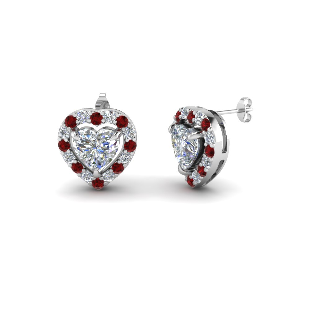 heart halo diamond stud earring with ruby in 18K white gold FDEAR1186HTGRUDR NL WG