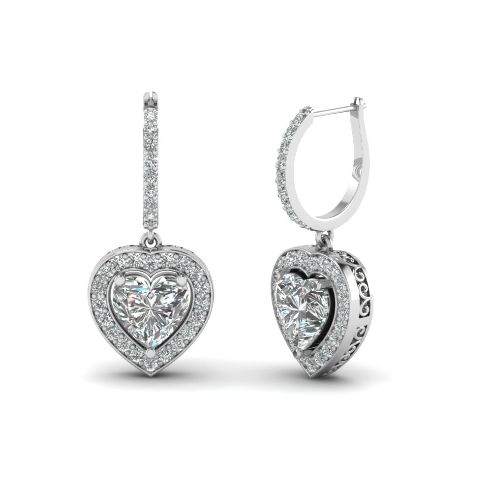 Filigree Heart Diamond Drop Earring