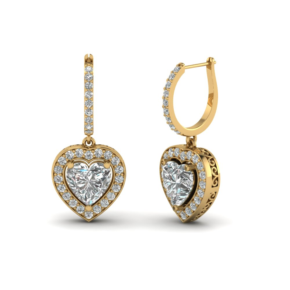 Heart Halo Drop Dangle Earring In 18k Yellow Gold Fdear1107 Nl Yg