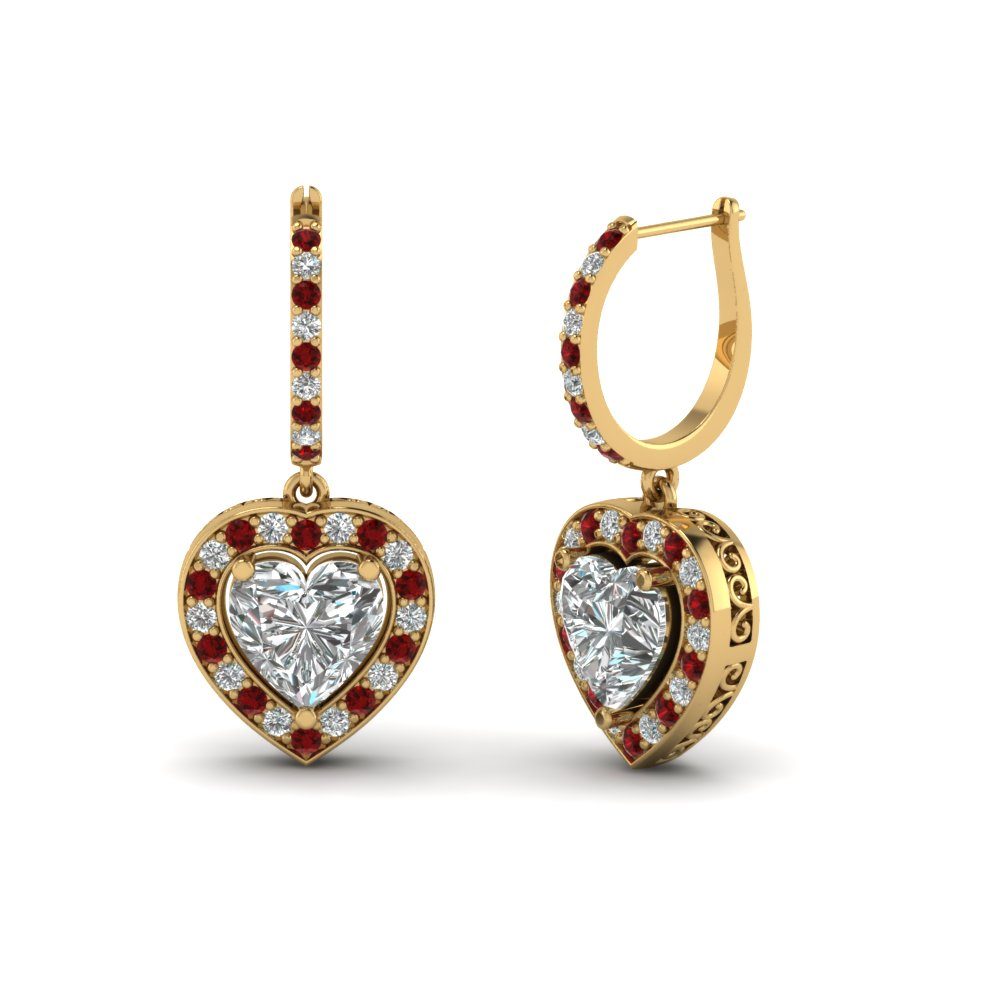 Heart Halo Drop Ruby Earring