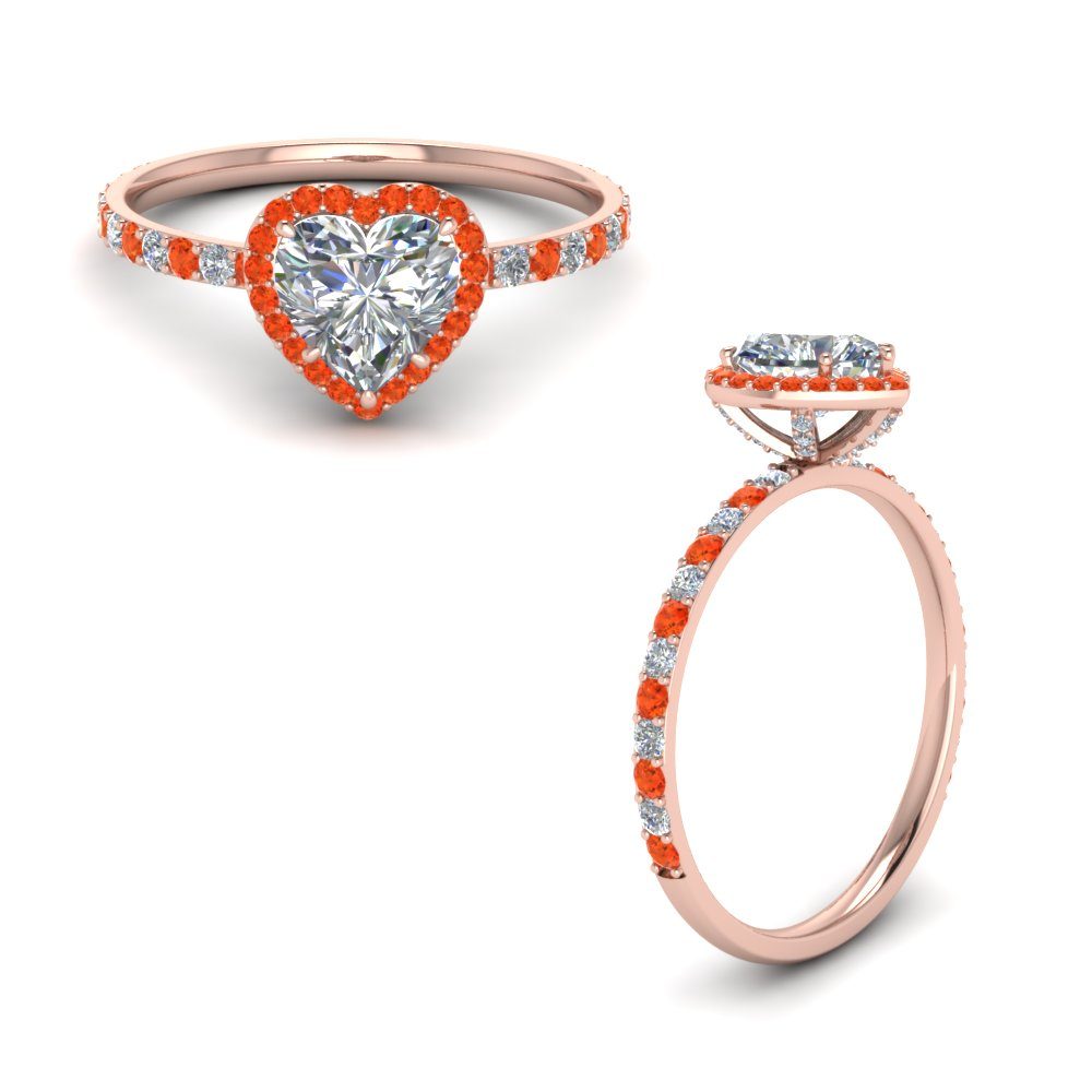 Orange Topaz Diamond Ring