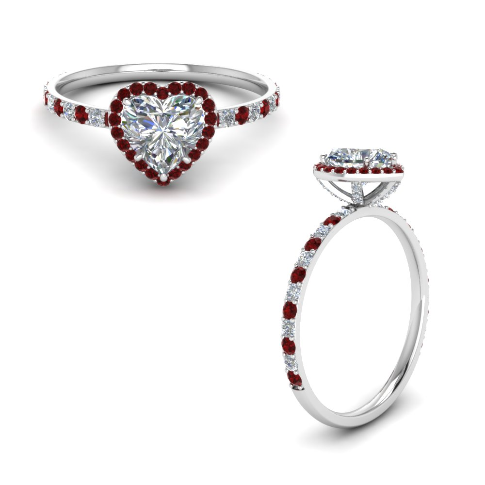 Ruby Heart Diamond Halo Ring