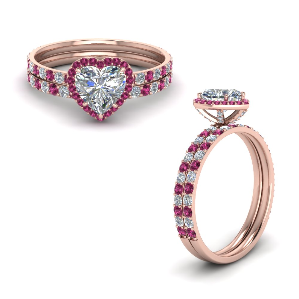 heart halo prong studded diamond wedding set with pink sapphire in FD8521HTGSADRPIANGLE1 NL RG