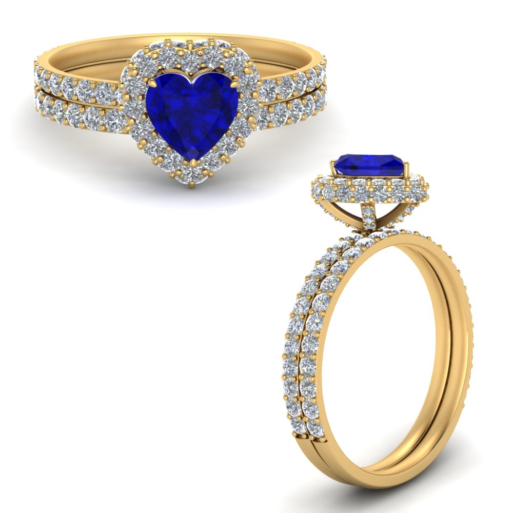 heart halo sapphire wedding rings in yellow gold FD9376HTGBSANGLE3 NL YG GS