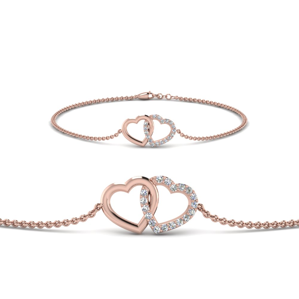 Heart Interlocked Chain Bracelet