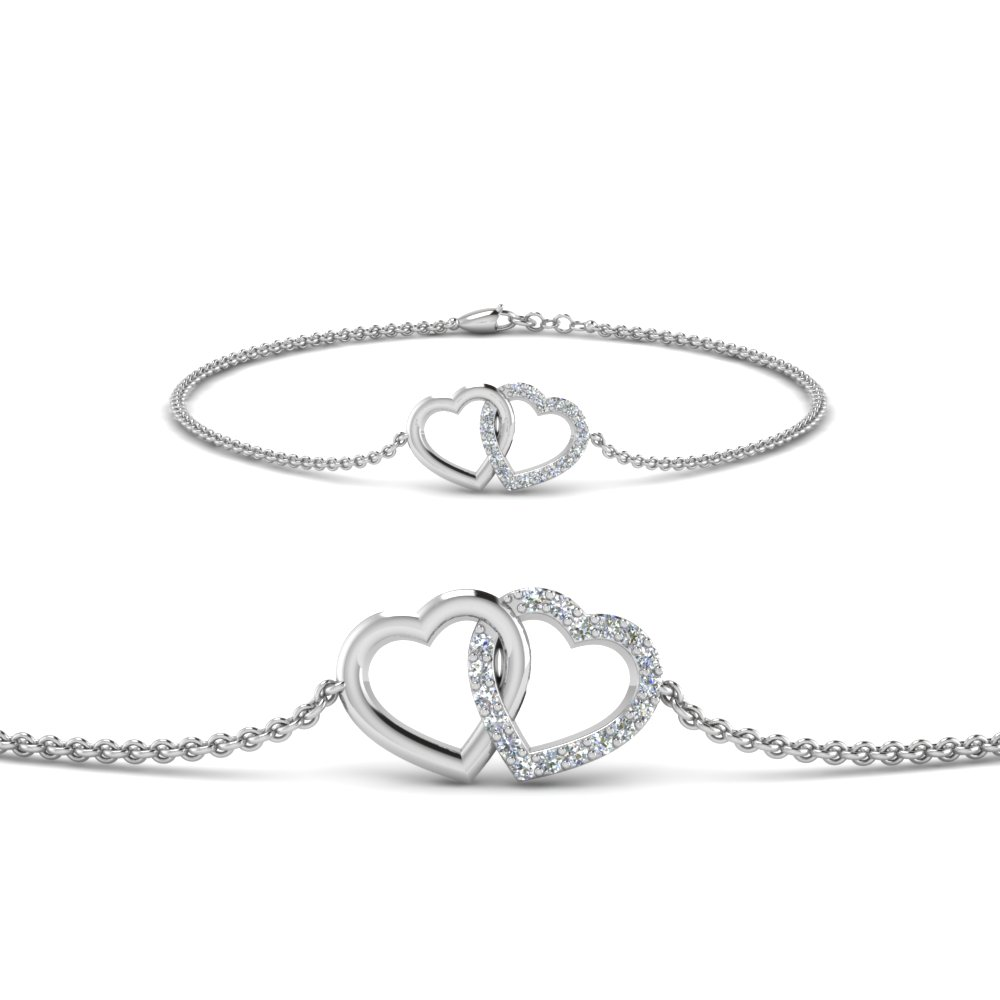 Heart Interlocked Diamond Bracelet In 14K White Gold