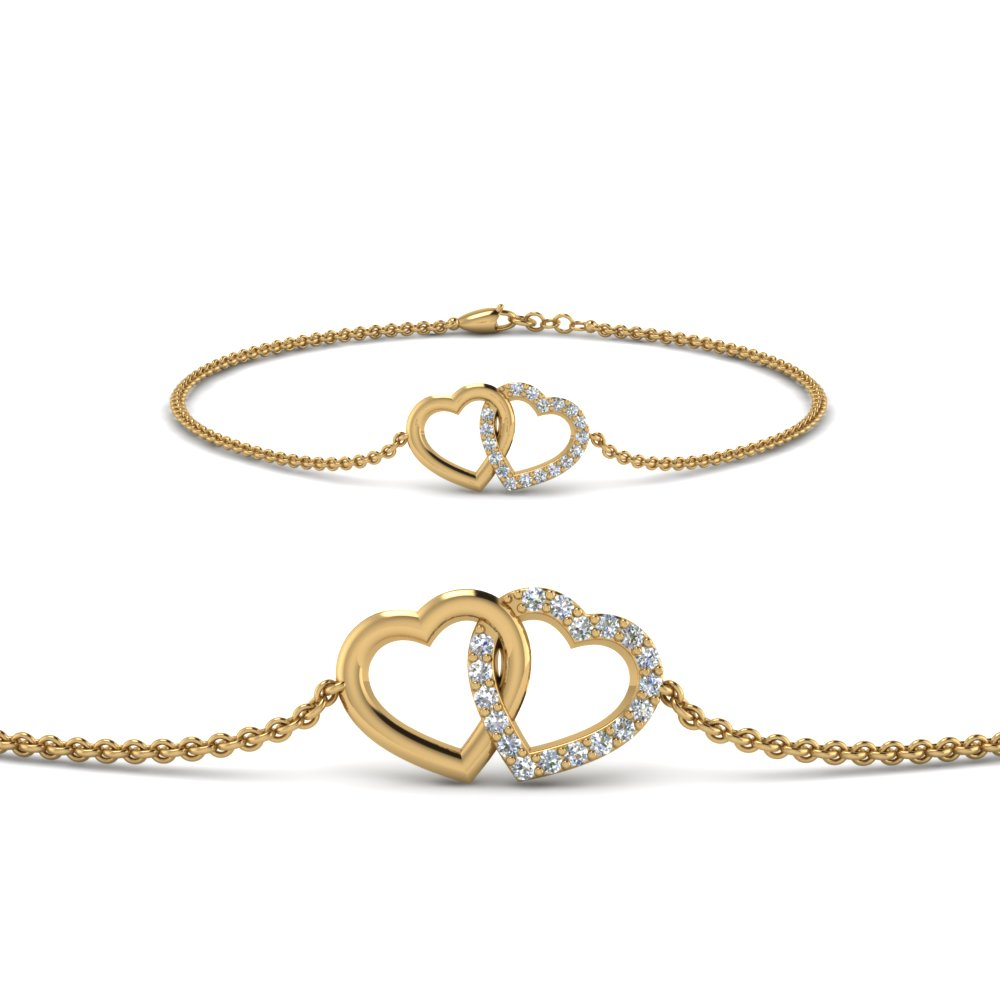 Interlocked Heart Diamond Bracelet