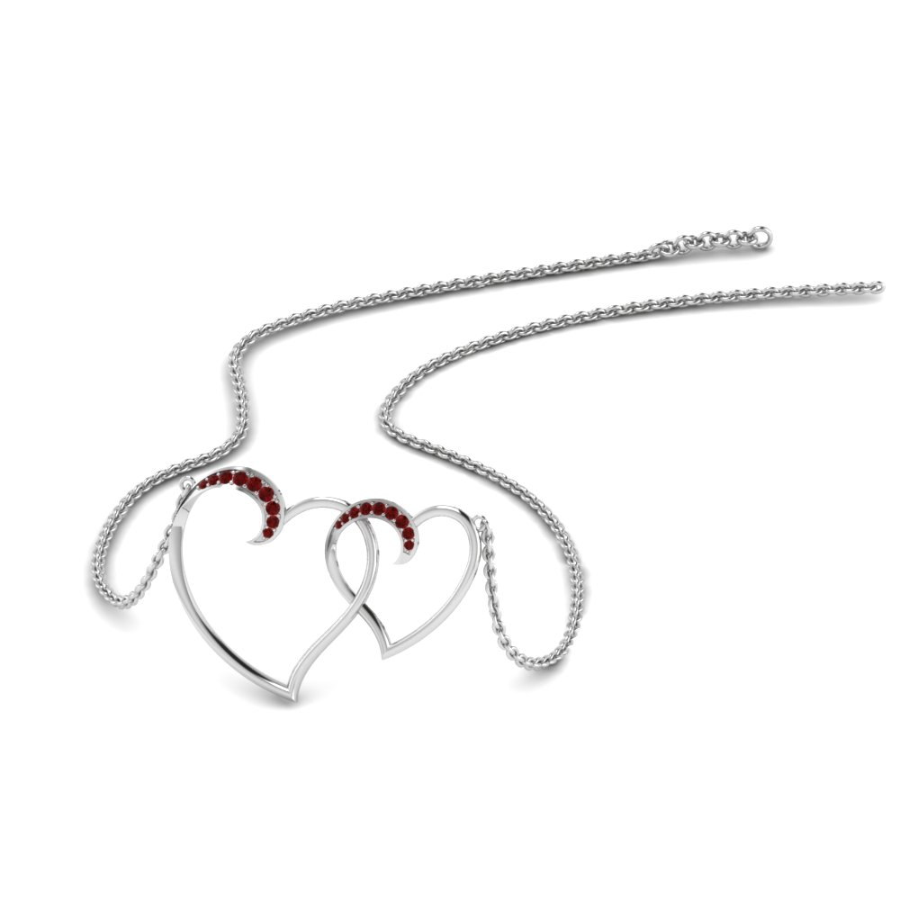 Heart Interlocked Ruby Pendant