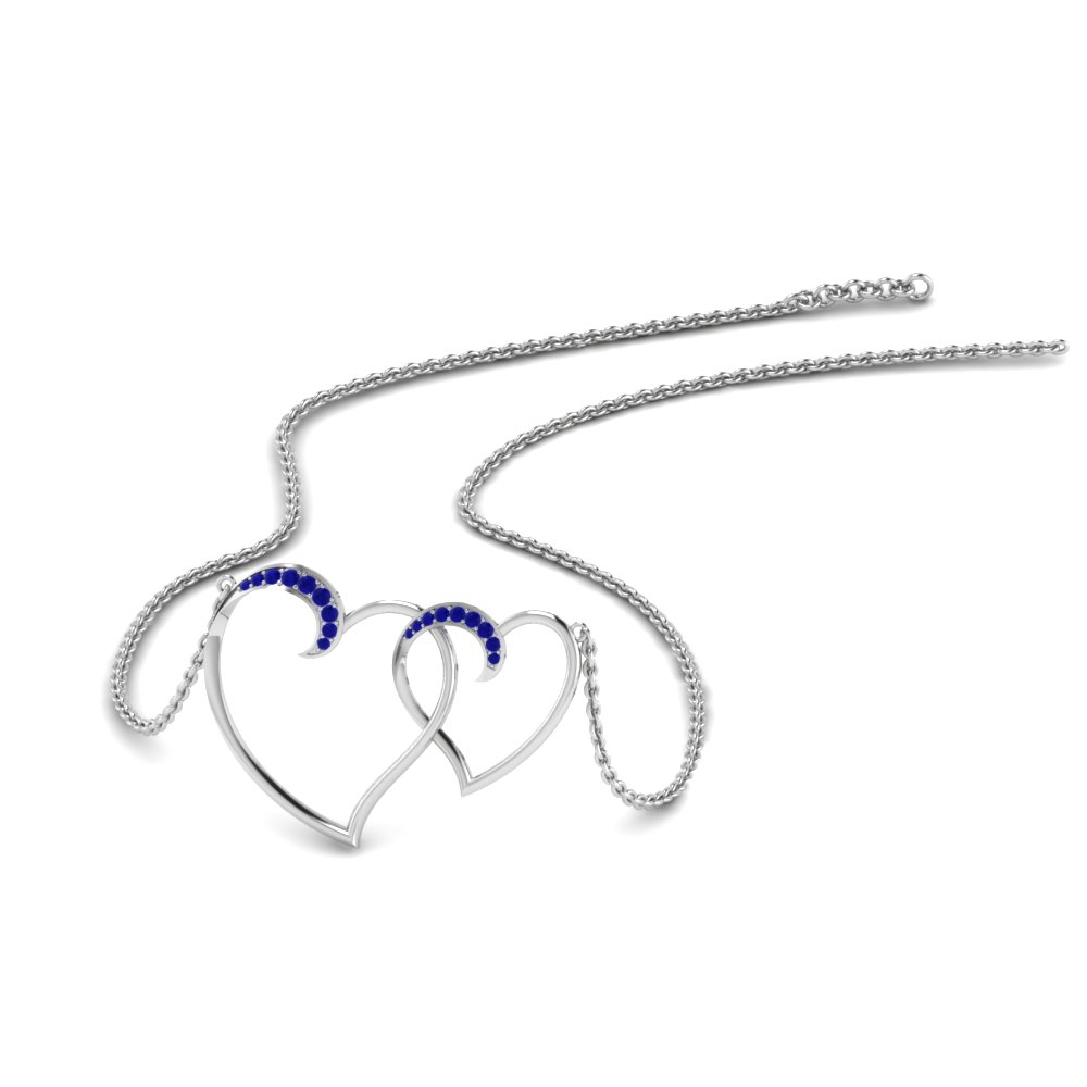Heart Interlocked Pendant With Sapphire