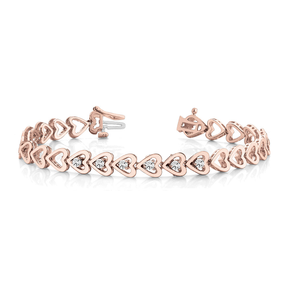 Heart Linked Diamond Bracelet In 14k Rose Gold Fdobr70107 Nl Rg