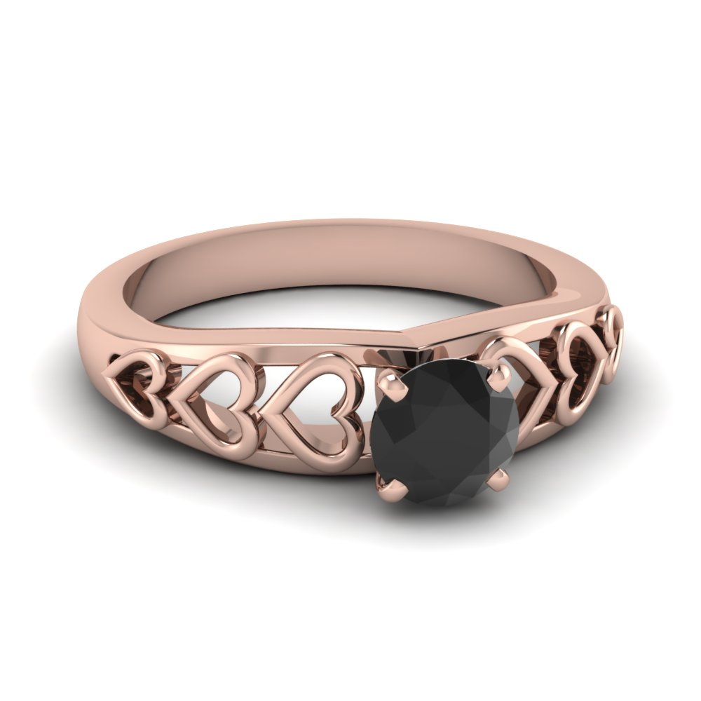 Filigree Hearts Black Diamond Gems Engagement Ring