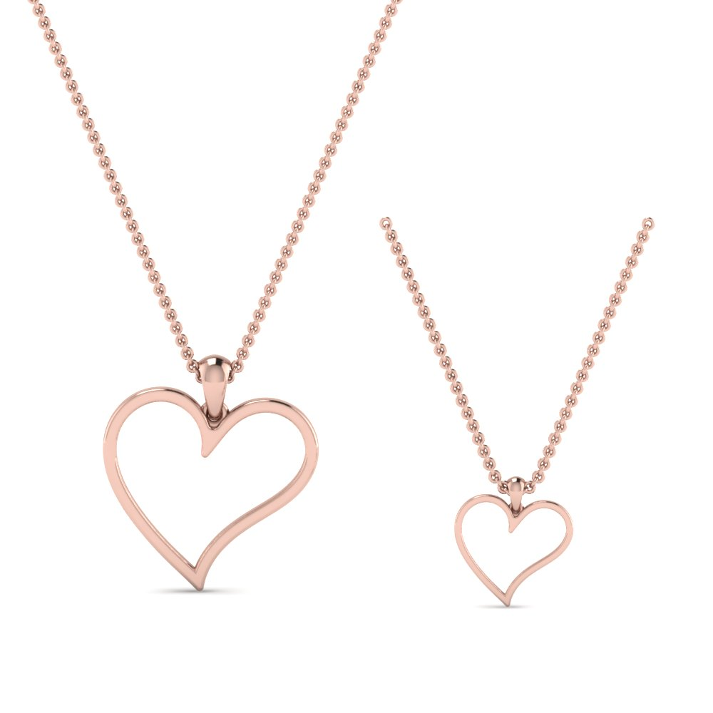 Heart Pattern Mother Daughter Necklace