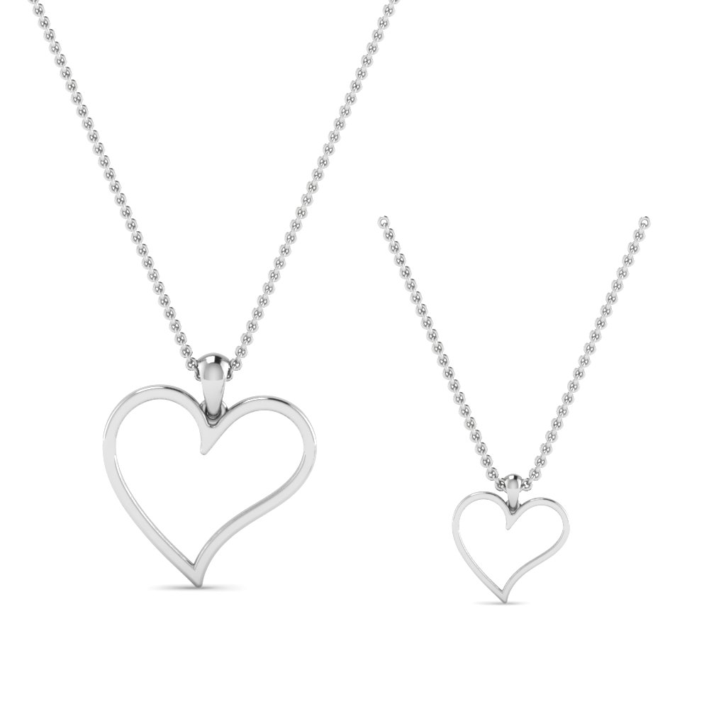 Platinum Mother Daughter Necklace