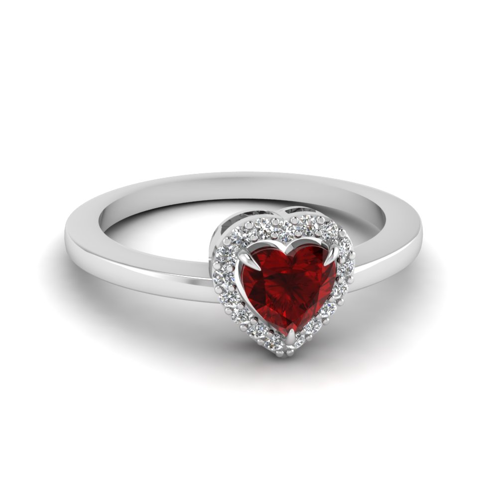 Simple Heart Ruby Halo Affordable Gemstone Engagement Ring