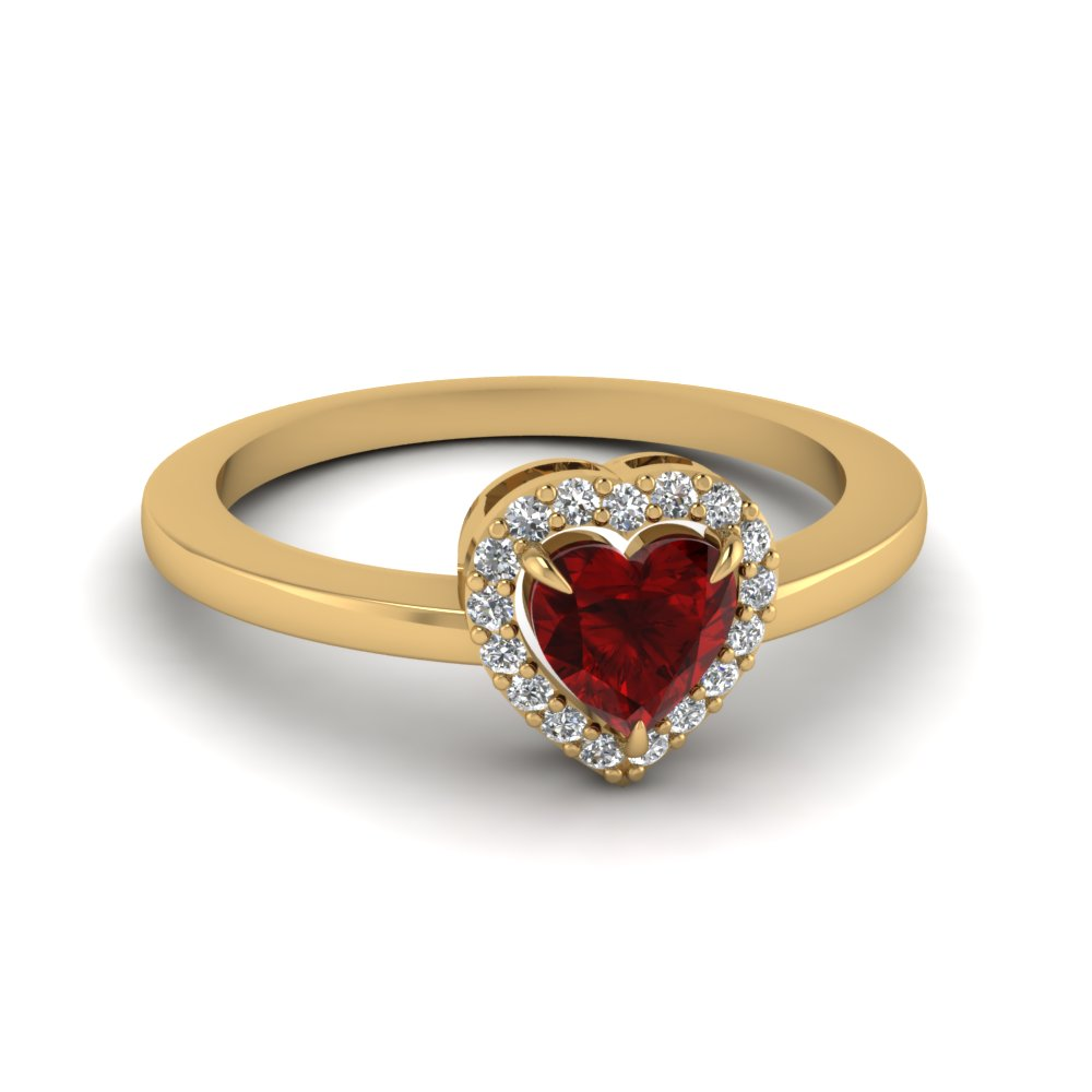 Heart Halo Ruby Engagement Ring