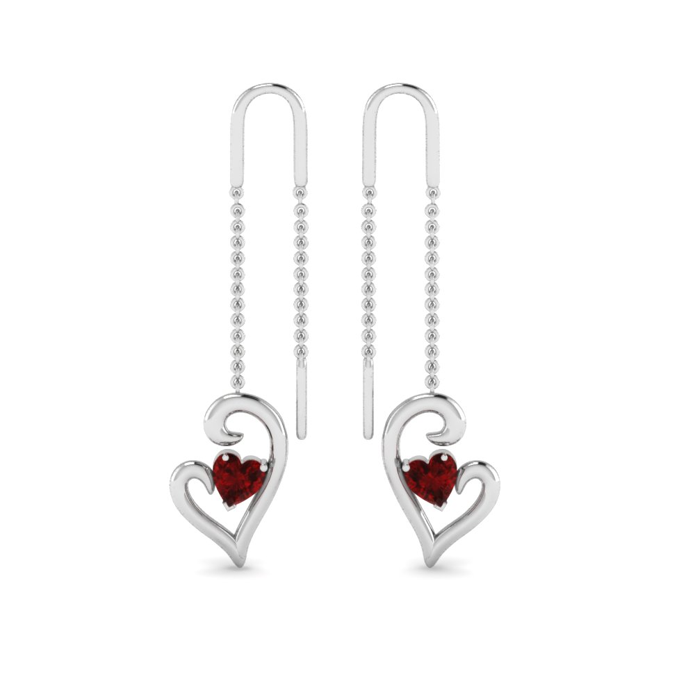 Platinum Ruby Heart Drop Thread Earring