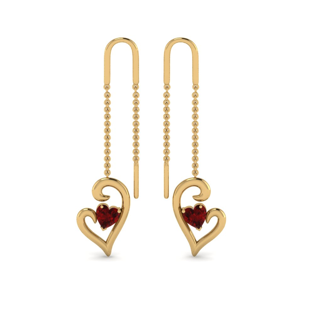 14K Yellow Gold Ruby Drop Thread Earring