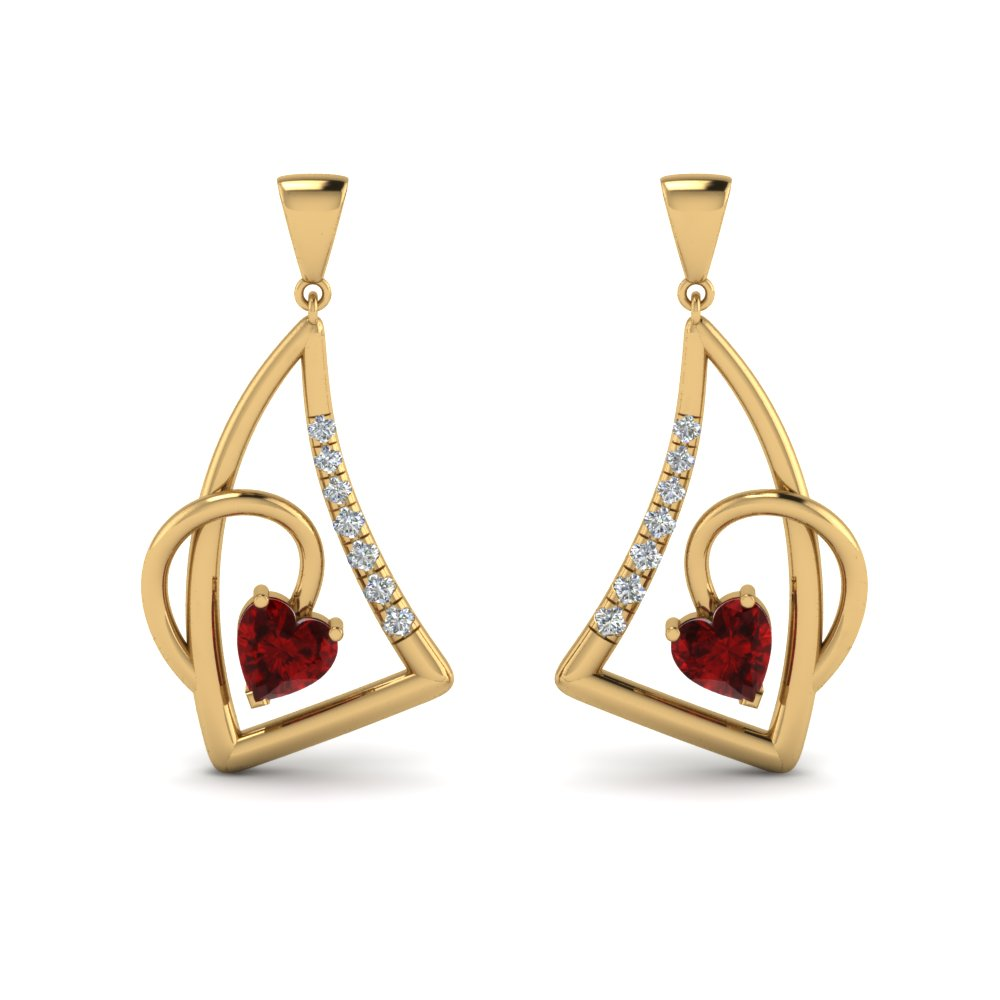 heart ruby stud drop earring in 14K yellow gold FDEAR8849GRUDR NL YG