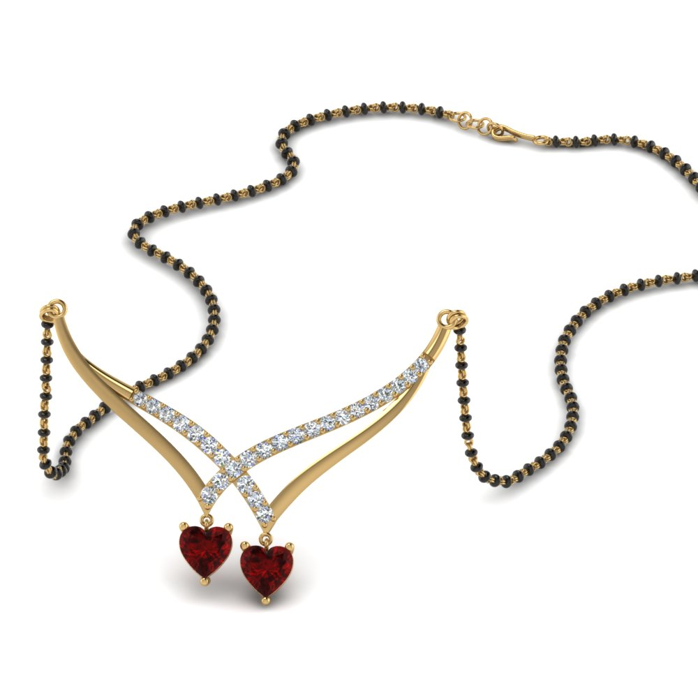 Ruby V Shaped Heart Mangalsutra