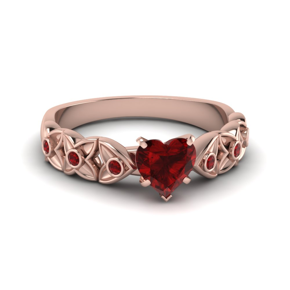 heart ruby with diamond flower ring in FD121955HTRGRD NL RG