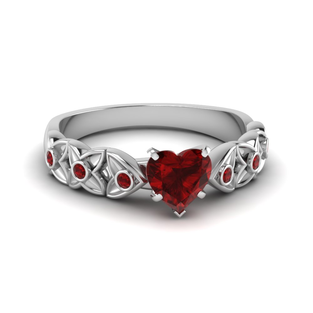 Heart Ruby Floral Ring